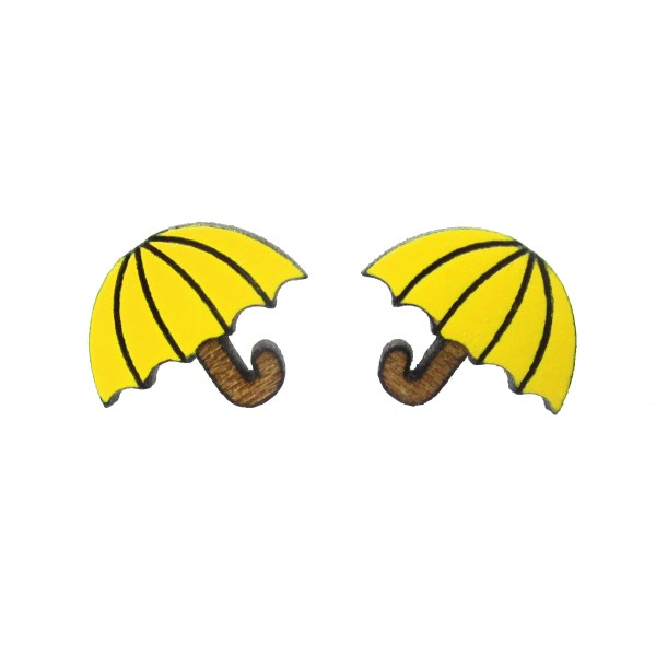2 yellow umbrella earrings on white background
