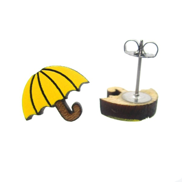 Yellow umbrella earring facing forward one showing earring post and clutch