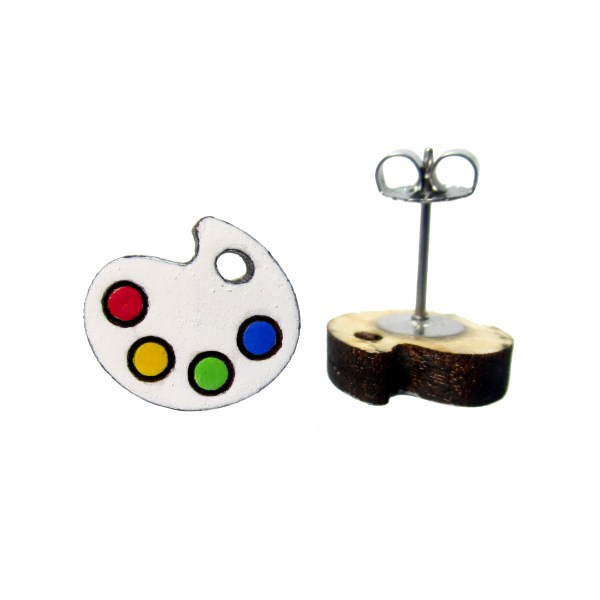 cute paint palette stud earrings showing post and clutch