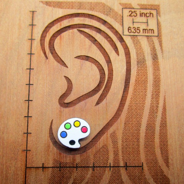 paint palette earring on ear diagram to show size