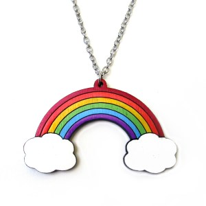 rainbow and clouds on white background pendant necklace