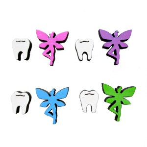 collection of tooth and fairy earrings in many colors