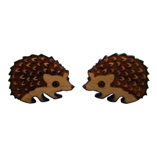 2 hedgehog wood earrings looking at eachother