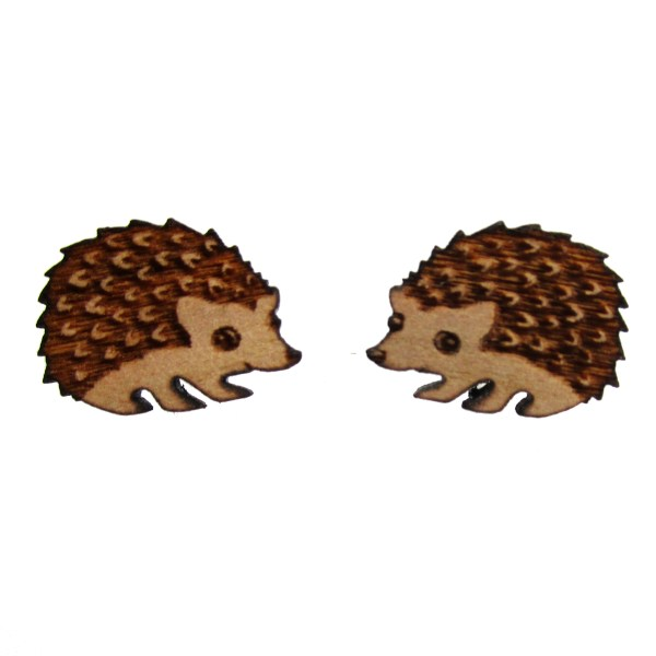 hedgehog hoggie cute little wood stud earrings