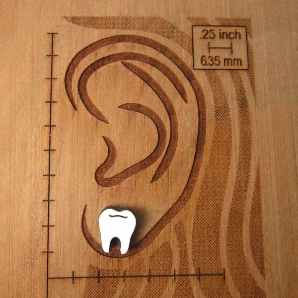 tooth earring on ear board to show size