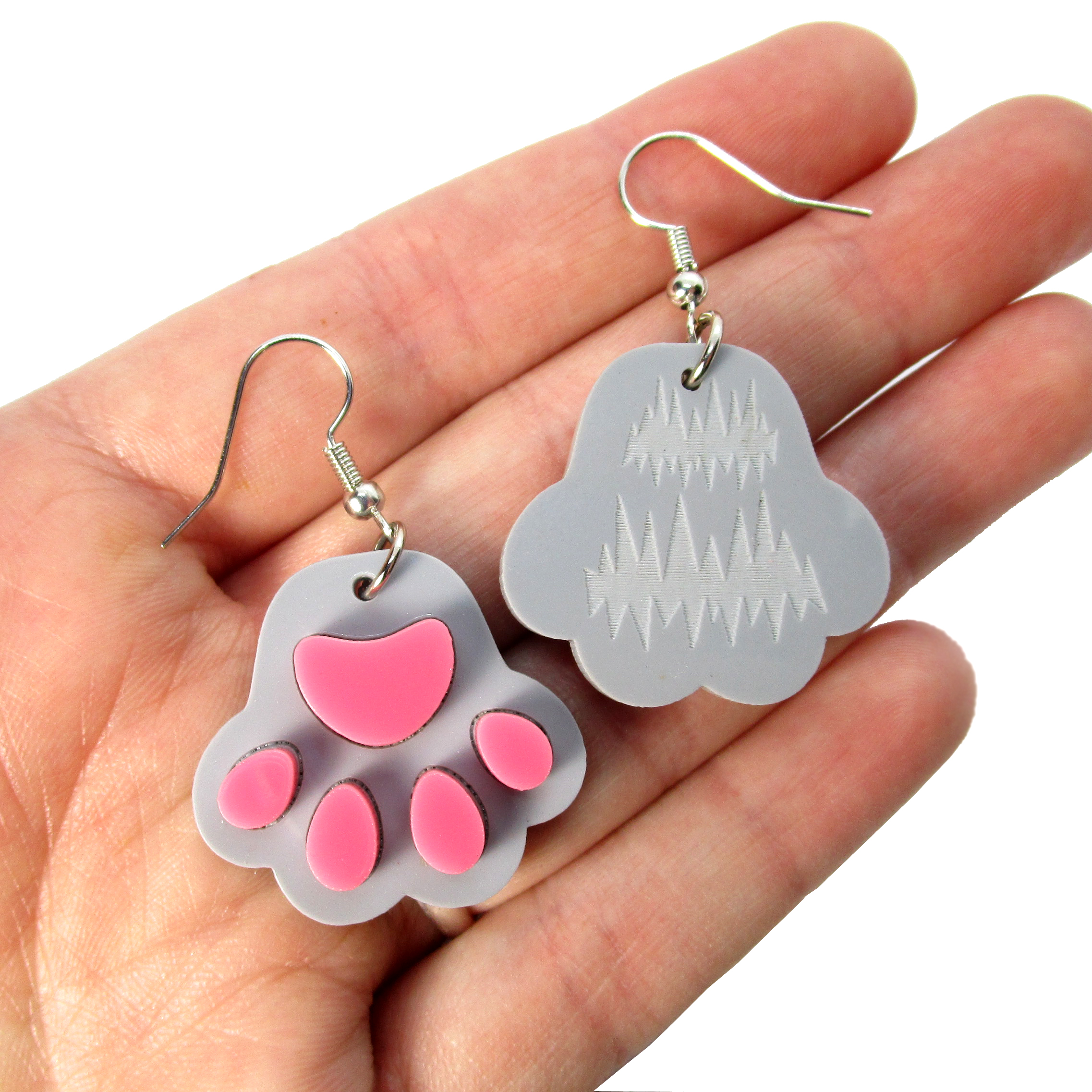 Paw Print Dangle Earrings, Kitty Cat Dog Toe Beans