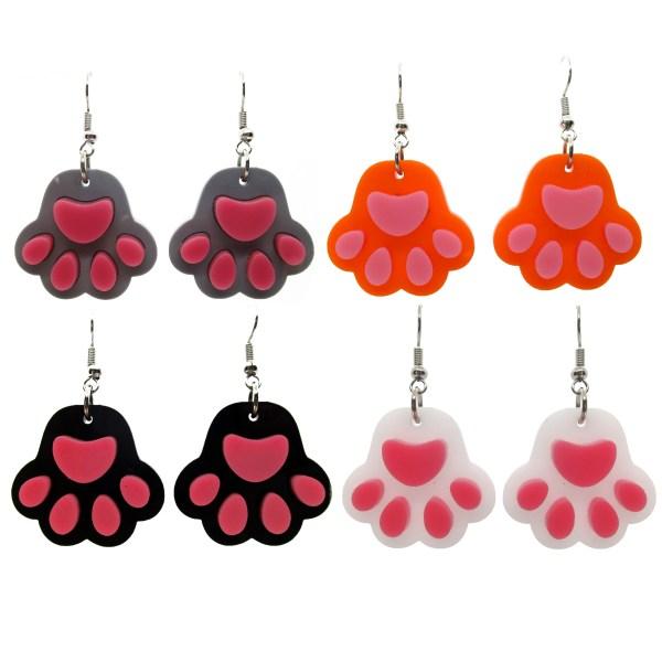 8 paw print shaped earrings, gray orange black white paw toe beans dangle earrings