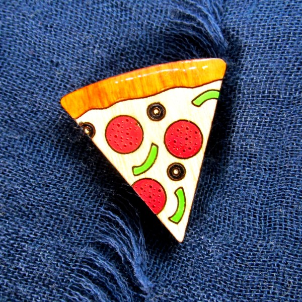 laser cut painted wood pizza pin