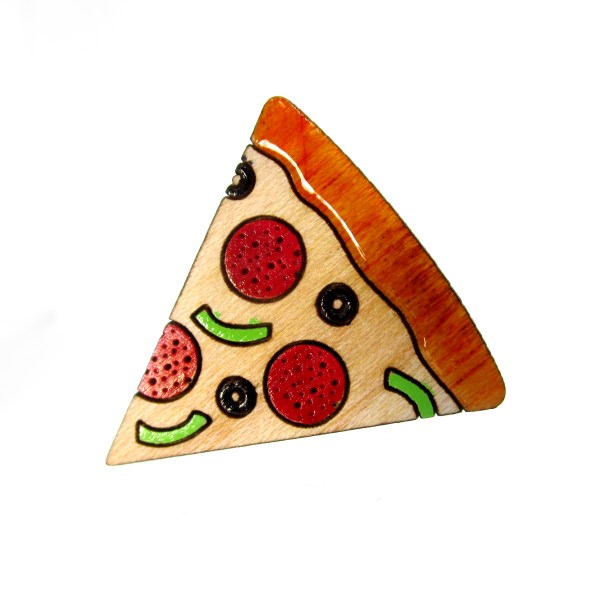 laser cut pizza brooch