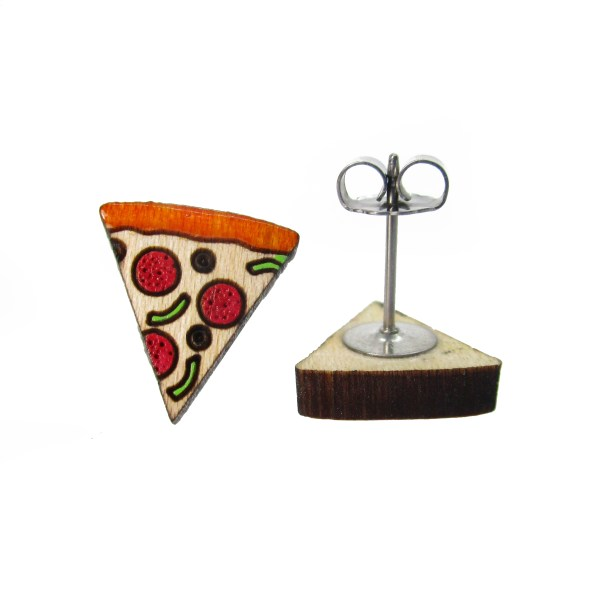 little pizza stud earrings one facing forward and one showing stud post and butterfly clutch