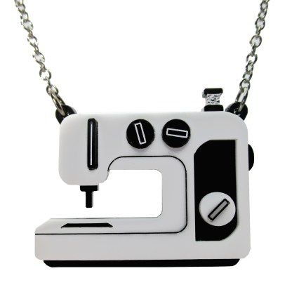 black sewing machine pendant necklace