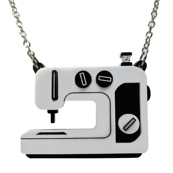 black sewing machine pendant necklace