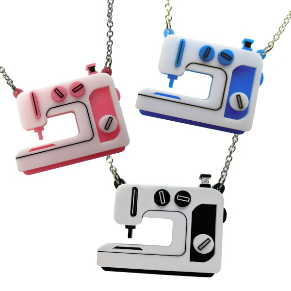 sewing machine embroidery machine sewer sewist pendant statement necklace gift pink blue and black sewing machine colors