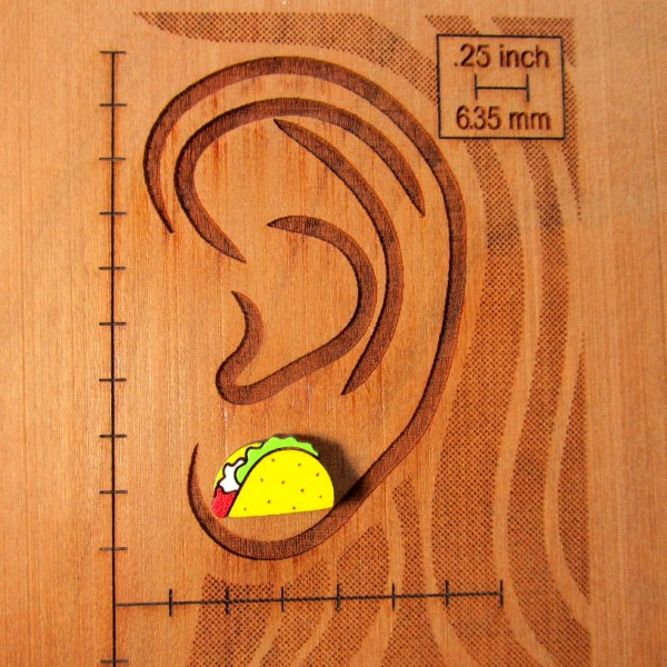 taco stud earring on ear diagram to show size