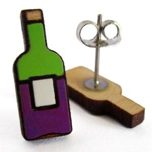 wine bottle stud earrings wine earrings wine studs handpainted earrings wine bottle jewelry wine lovers gift