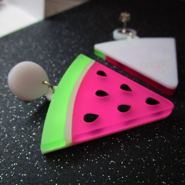 side view of kawaii big watermelon summer statement earrings
