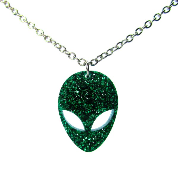 green glitter big eye alien rave pendant necklace on white background