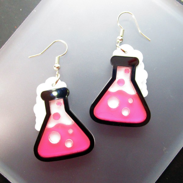neon pink science beaker experiment dangle earrings