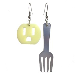 Electric Outlet and fork funny plastic mismatch earrings set jewelry