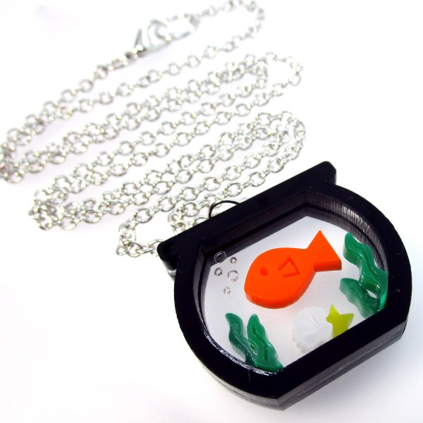 goldfish fish bowl pendant necklace with long silver chain