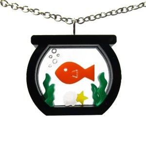 goldfish aquarium pendant on white background