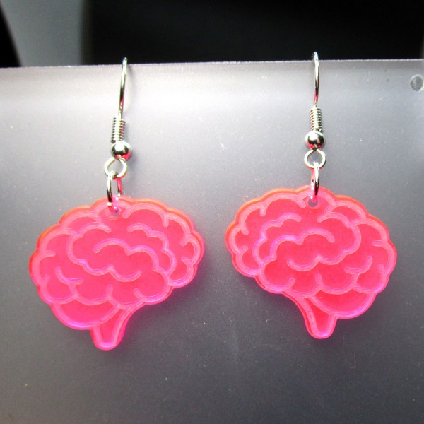 up close pink brains earrings to show detail