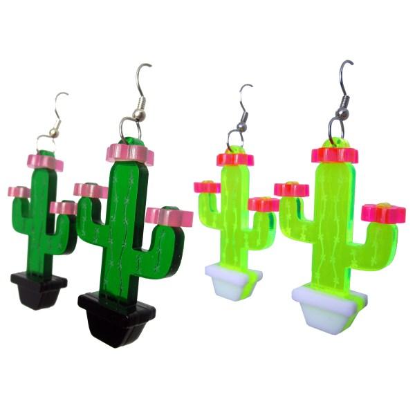 dark green and black light glow neon green 3d laser cut cactus earrings