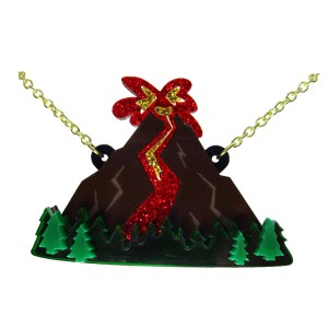 volcano scene pendant necklace