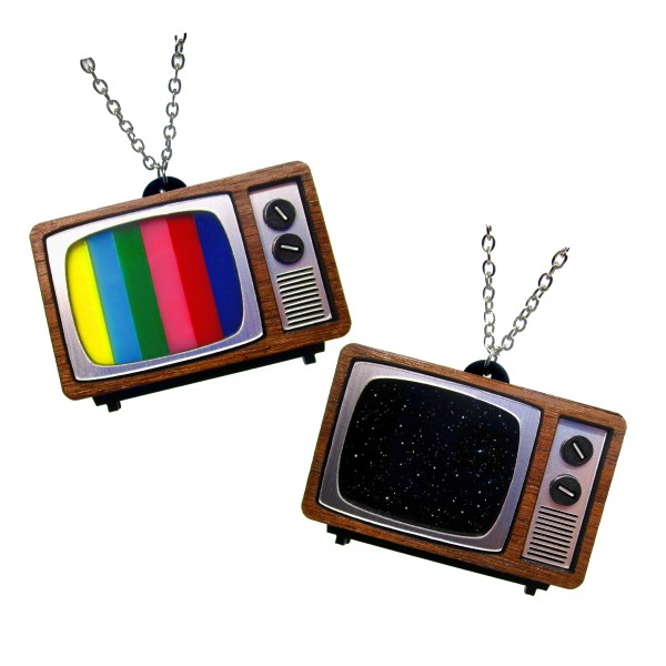 retro classic tube floor television tv static signal wood panel tube dial s s pendant statement necklace