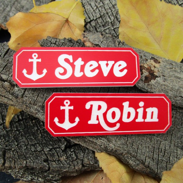 steve and robin scoops ahoy anchor red name tag badge for cosplay