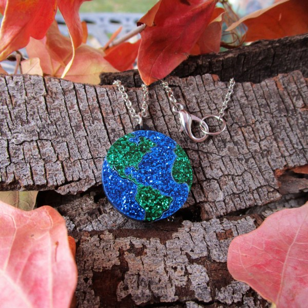 planet earth pendant necklace space globe world planet