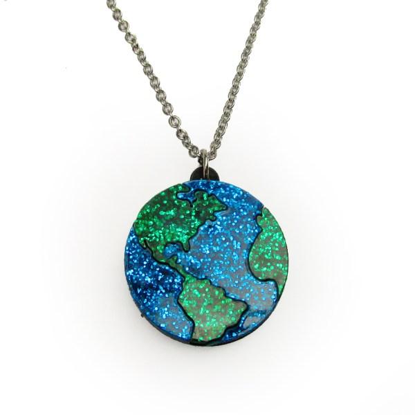 planet earth globe pendant necklace