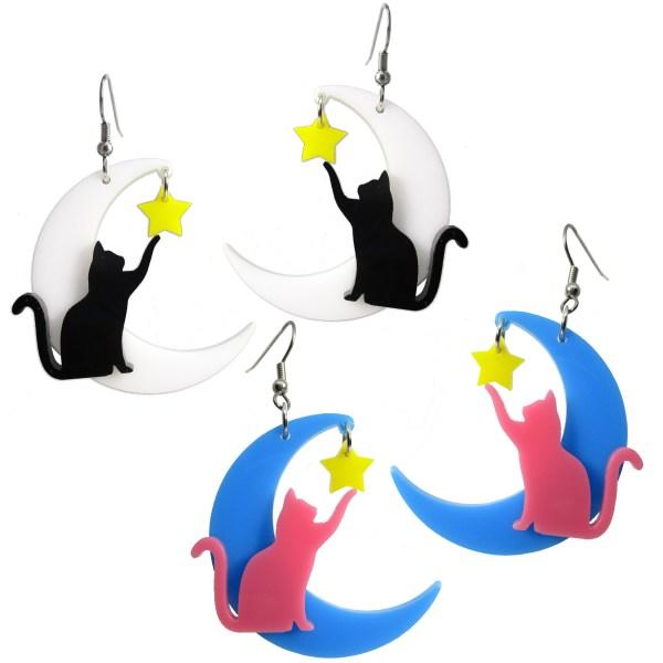 cat moon big fun decora harajuku style moon with cat touching dangling yellow star dangle earrings