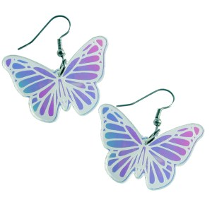 Iridescent Rainbow Springtime Spring Butterfly Shape Easter dangle earrings Jewelry