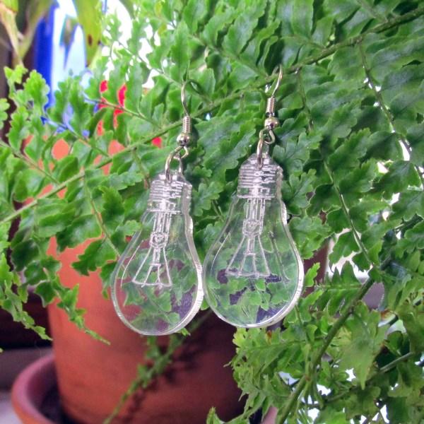 Lightbulb Great Good Idea Dangle Earrings High Detail funny Statement Electrician science teacher style jewelry