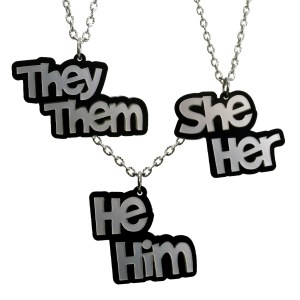 Pronoun Pendant Necklace They Them She Her He Him Silver and Black Transgender pronoun necklace jewelry
