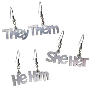 Pronoundangle earrings They Them She Her He Him Silver color acrylic Transgender pronoun dangle earrings