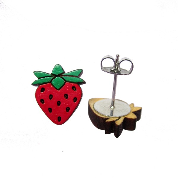 cute little hand painted wood spring time summer strawberry stud earrings