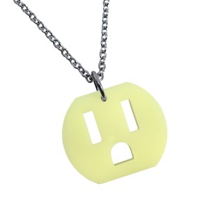 funny outlet socket shaped pendant necklace on silver color chain