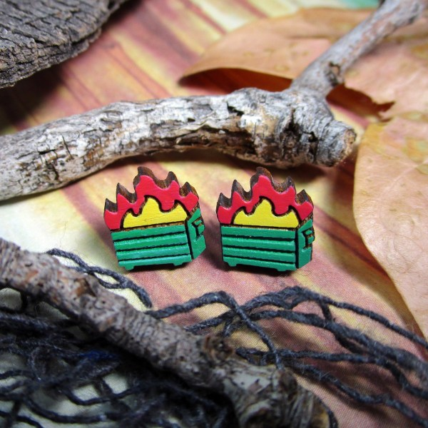 cute little dumpster fire stud earrings