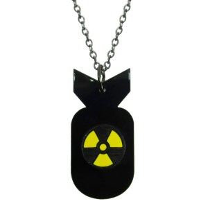 Atom Bomb A Bomb shape pendant with atomic nuclear warning logo symbol on chain necklace