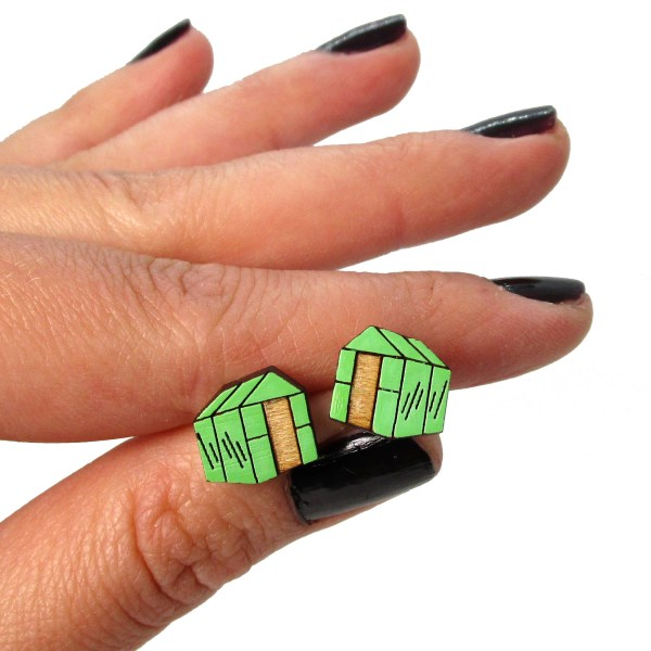 Greenhouse gardener spring time garden green thumb lightweight painted wood stud earrings