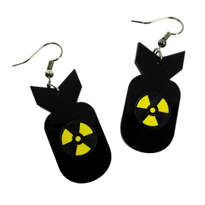 atom bomb shape pendant with atomic warning symbol dangle earrings