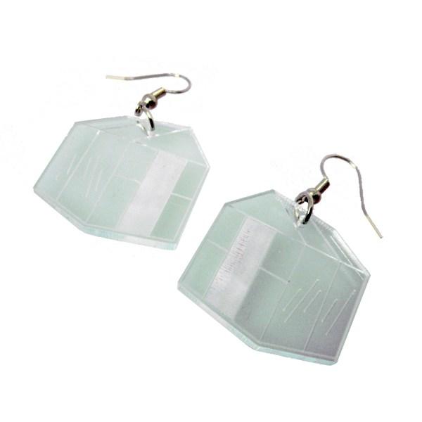 greenhouse shape glass colored plastic arboretum dangle earrings