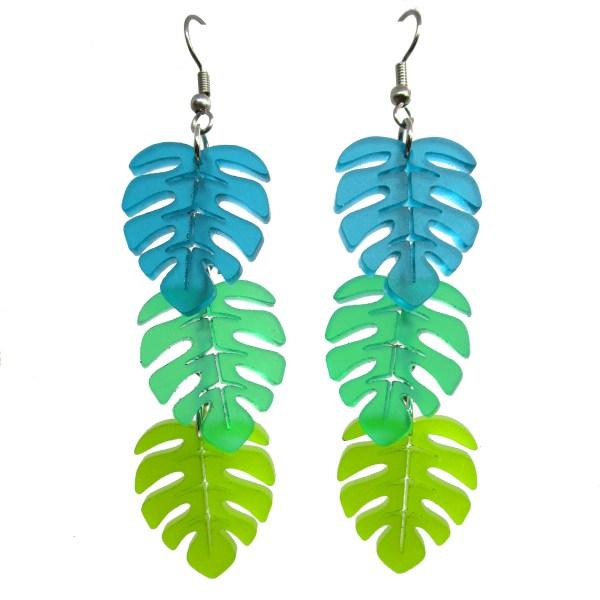 Monstera Tropical Leaf Summer summertime fun dangle cascading statement earrings beach big envy
