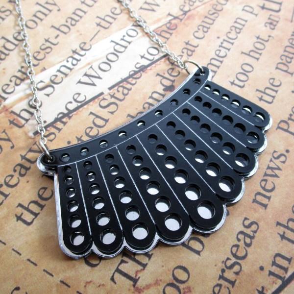 RBG Dissent Collar bib chain necklace black lace acrylic plastic jewelry