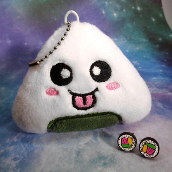 Bento Box Sushi Love Nigiri Plush Tuna Roll Stud Earrings Gift Set