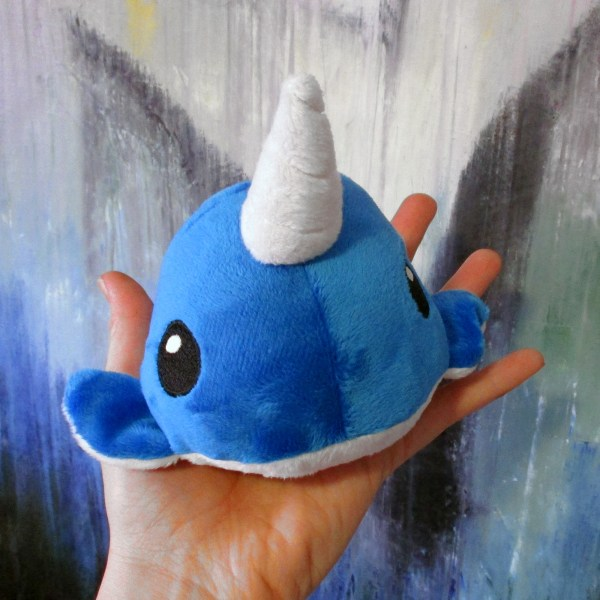 Cute colorful narwhal cartoon painted wood stud earrings with blue narwhal plush gift set