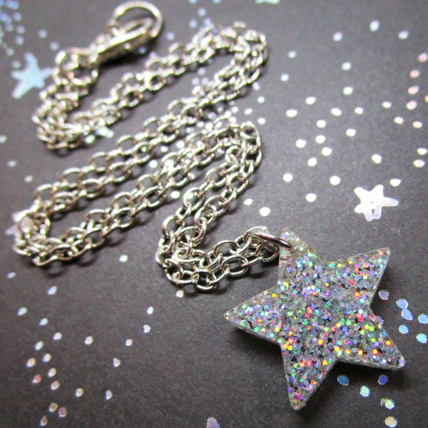 Iridescent cofetti glitter cute little simple star pendant necklace on short chain