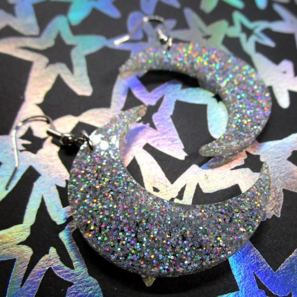 Iridescent cofetti glitter large big moon dangle pendant earrings